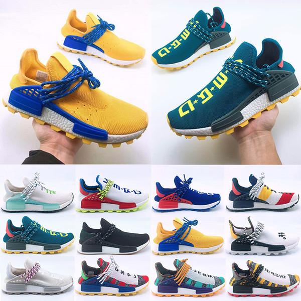 Top Sale Human Race Hu trail Running shoes Men Women Pharrell Williams Yellow noble ink core Black Designer Sports Trainers Sneaker 36-47