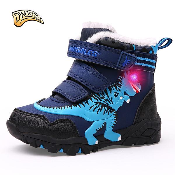 best sneakers c47fc bec19 Großhandel Dinoskulls Jungen Hohe Stiefel Kinder Warme Fleece Stiefel  Kinder Jungen Winter Warme Schuhe Leuchten Led Schuhe T REX 27 34 Von ...