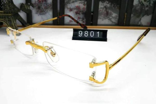 Горячая распродажа модный бренд без оправы буйвола рога очки мужчины женщины золото серебристый металлический сплав оправа очки человека
