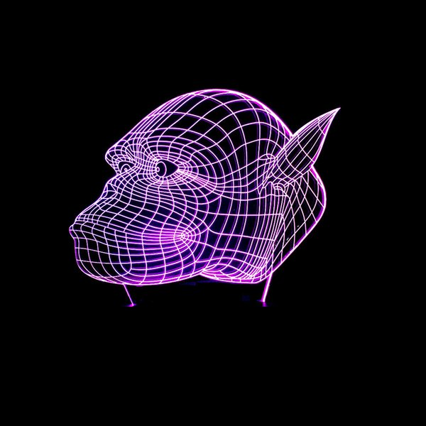 Pattern Chimpanzee Colorful 3d Lamp 3d Led Touch Switch Illusion Lamp Vision Three-dimensional Lamp Gradual Change Seven Coloured Lights