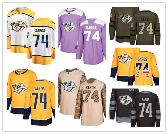 pretty nice b55b5 ba19f 2019 Nashville Predators Jerseys #74 Juuse Saros Jersey Hockey Men Women  Youth Gold Yellow White Home Breakaway Stiched Authentic Jerseys From  Wk1403, ...