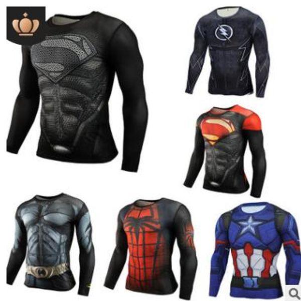 Captain Superman American winter soldier spider speed dry suit sports leotard 3D men's sport long-sleeved T-shirt Marvel hero