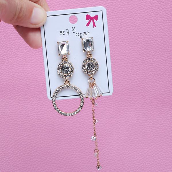 S925 asymétriques anneaux anneaux boucles d'oreilles marée femme tempérament déesse longue oreille pointes populaires Tassel oreille ornements