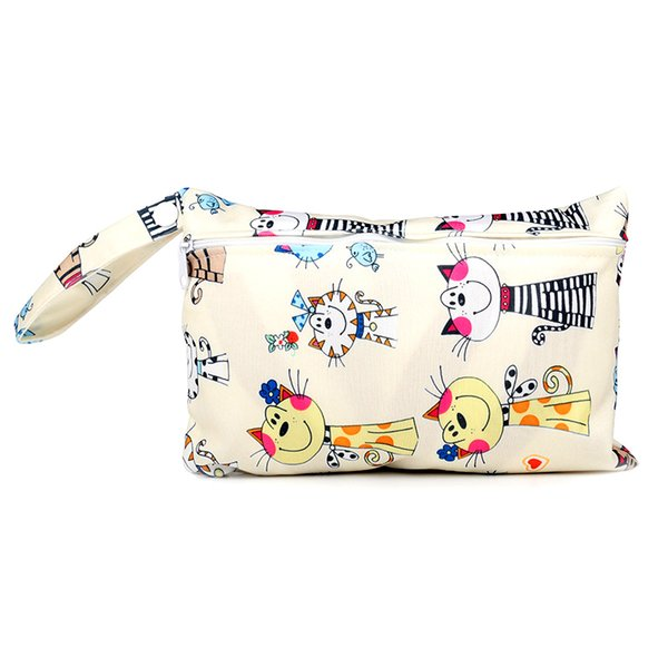 New arrive 20 styles Baby Wet Dry print mini Diaper Bag Infant Travel Nappy Organizer Zipper Waterproof Tote Bag with Soft Snap Handle