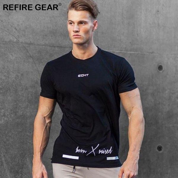 Refire Gear New Summer T-shirt a maniche corte in cotone Mens O-Neck Palestre Outdoor T Shirt da uomo Abbigliamento sportivo Slim Tees Tops