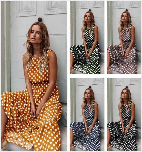 2019 summer clothes Long dress Beach dress Women clothing Dots print All matched Fashion Chinawomenclothingmanufacturer Hot selling