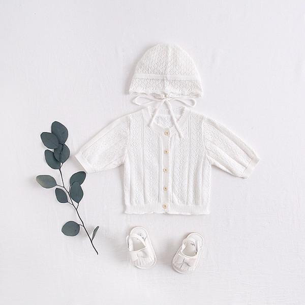 Bebê menina crianças roupas casaco de malha cardigan botões casaco 3/4 manga crianças primavera casaco + chapéu crianças roupas