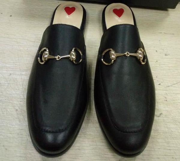 Мода кожаные тапочки металлическая пряжка половина перетащить обувь плоский досуг женские тапочки