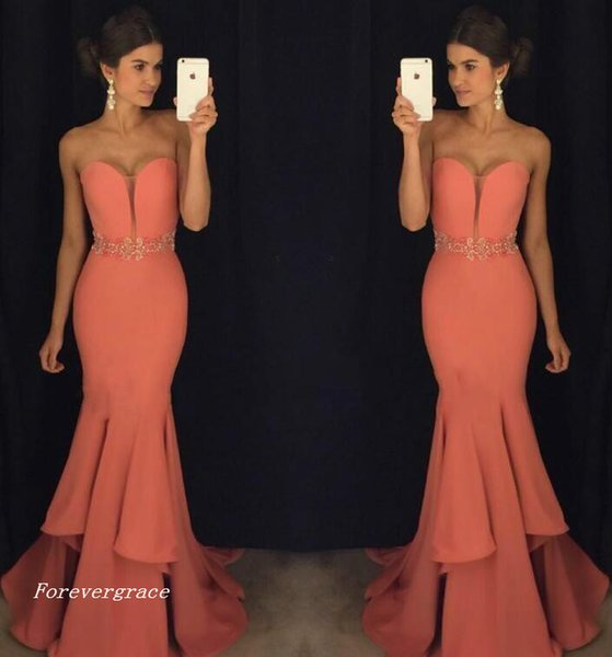 2019 Fashion Mermaid Sweetheart Evening Dress Crystal Sash Floor-length Long Formal Holiday Wear Prom Party Gown Custom Made Plus Size