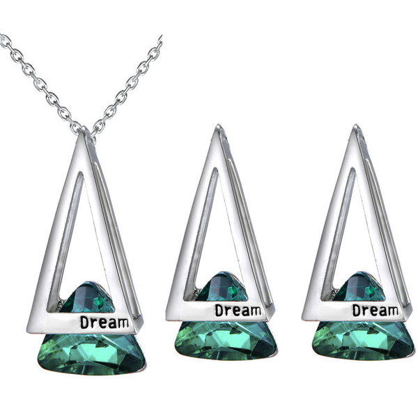 Geometric triangle hollow necklace + earrings crystal set fashionable temperament Female student accessories 3 colors sales 80021
