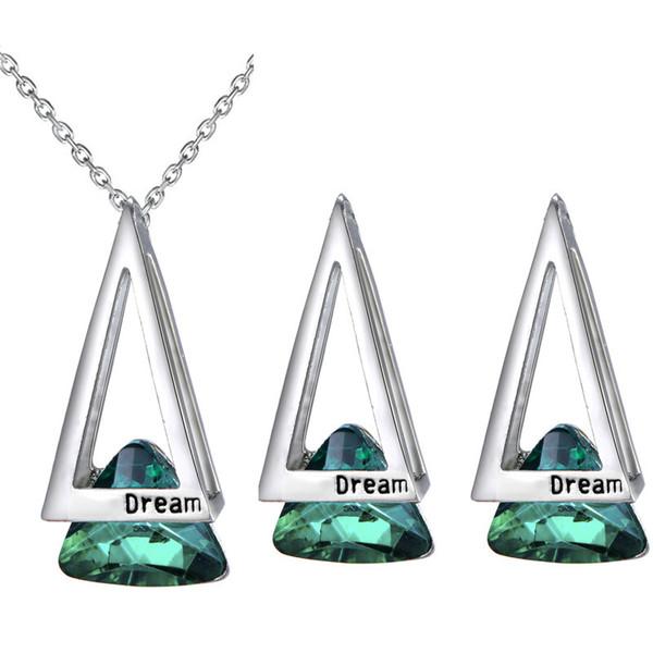Collier creux triangle géométrique + boucles d'oreilles en cristal mis tempérament à la mode étudiante accessoires 3 couleurs ventes 80021