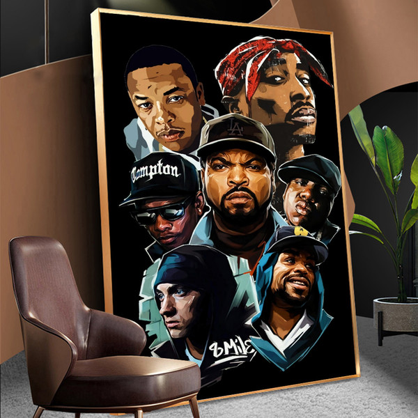 best selling Fashion West Coast Hip Hop Tupac Music Poster and Prints Canvas Painting on Wall Art 2PAC Picture For Home Room Decoration