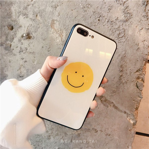 Cute smiley love glass shell 6splus Apple X mobile phone shell xsmax creative personality iPhone7plus all-inclusive anti-fall 6s female
