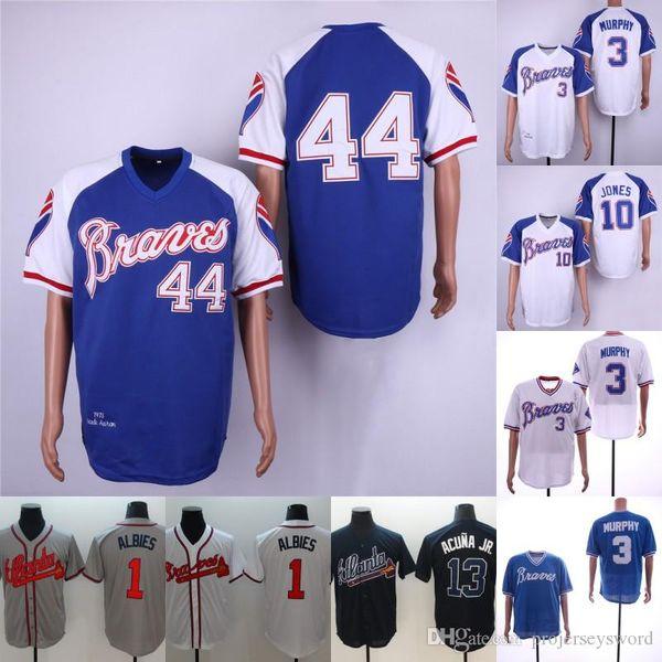 13 Ronald Acuna Jr. Mens Atlanta 1 Albies Ozzie 10 Jones Chipper 3 Dale Murphy 44 Hank Aaron Braves Jerseys de Beisebol Transporte Rápido
