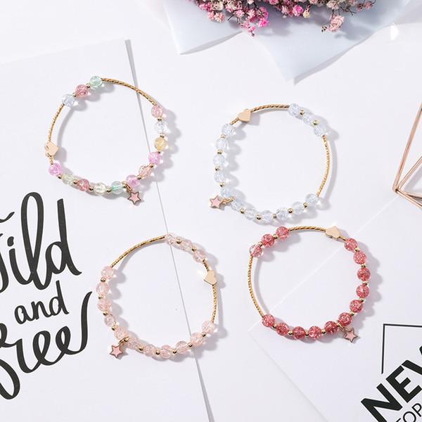 Lujo hecho a mano para mujer 4 diseño colorido perlas pulsera mejor diseño regalo de cumpleaños joyería pulsera con encanto estrella