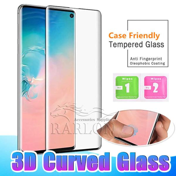 3d curvo case friendly protetor de tela de vidro temperado para samsung galaxy s10 e s10 plus 5g s9 s8 nota 8 9 lg g8 huawei p30 pro