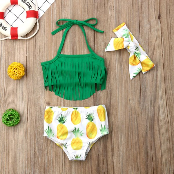 3 ADET Yenidoğan Bebek Kız Püsküller En Şort Mayo Ananas Mayo Yüzme Beachwear Biquini Seti içinde 2019 Yeni Moda
