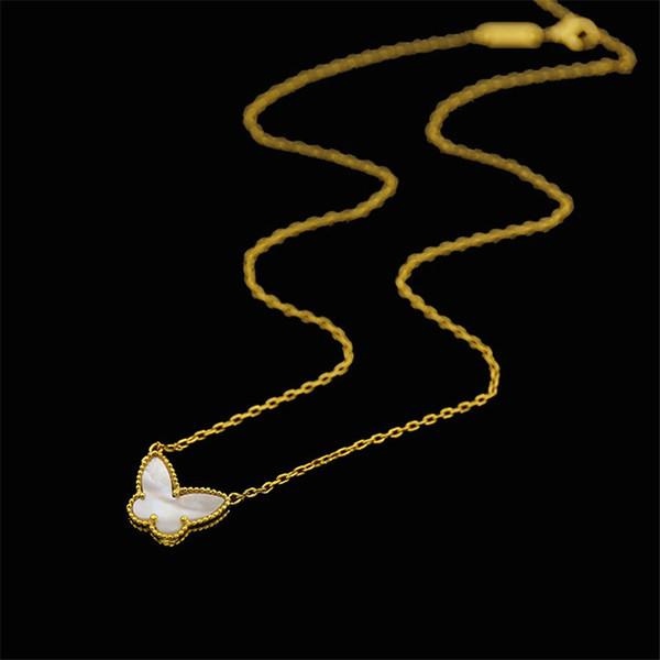 Diseñador de lujo encantos de los animales collar de moda mariposa colgante collares de oro enlace para mujer collares de calidad joyería fina amante regalos