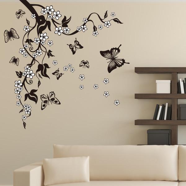 Kreative Schmetterling Blume Zweig Dekorative Wandaufkleber Steuern Dekor Wohnzimmer Dekorationen Pvc Wandtattoos Diy Wandbild Kunst