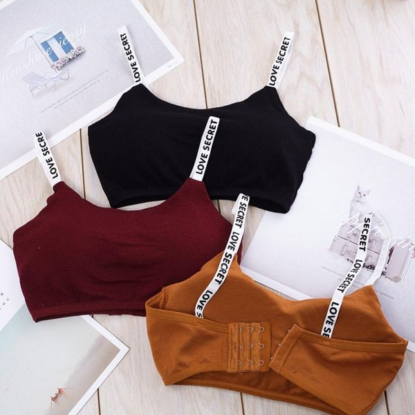 Free Ship! Women Cropped Padded Bra Alphabet Straps Modal removable chest pad Tube Tops