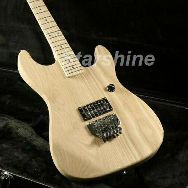Starshine JEN6045U Unfinished Electric Guitar Kits FR Bridge ASH Body Maple Fingerboard Bolt On DIY Guitar