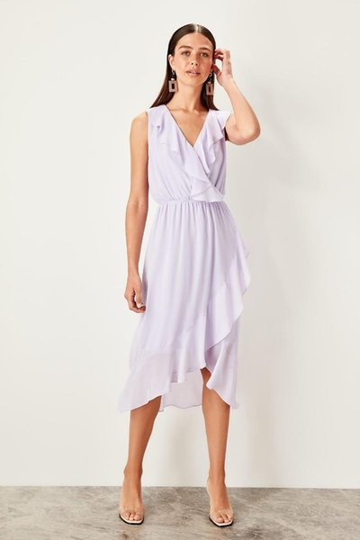 Trendyol Lila Lila Fırfır Detaylı Elbise TWOSS19LJ0359