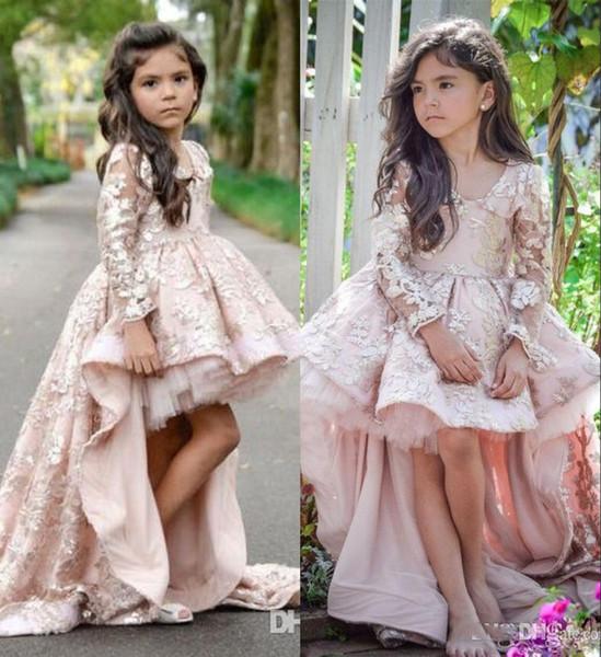2019 Rose Haute Basse Manches Longues Fleur Fille Robes Encolure En V Appliques Ruffles Filles Pageant Robes Enfants Une Ligne Enfants De Bal De Fête Dres