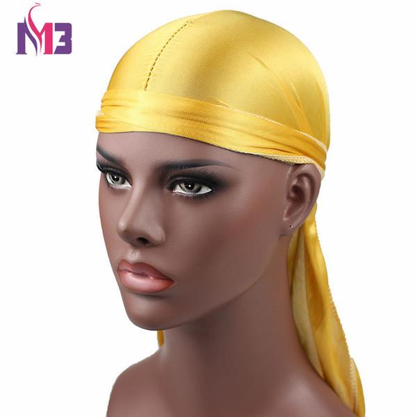 Yeni Moda erkek Saten Durags Bandana Türban Peruk Erkekler Ipeksi Durag Şapkalar Kafa Korsan Şapka Saç Accories