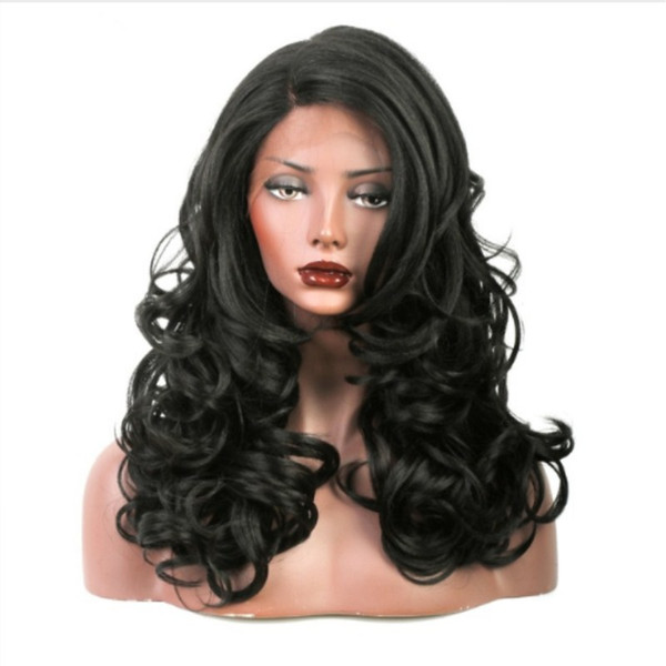 Free Shipping Wholesale Cheap Black Body Wave Synthetic Lace Front Wigs for Women Side Part Heat Resistant 180% Density Natural Soft Wig