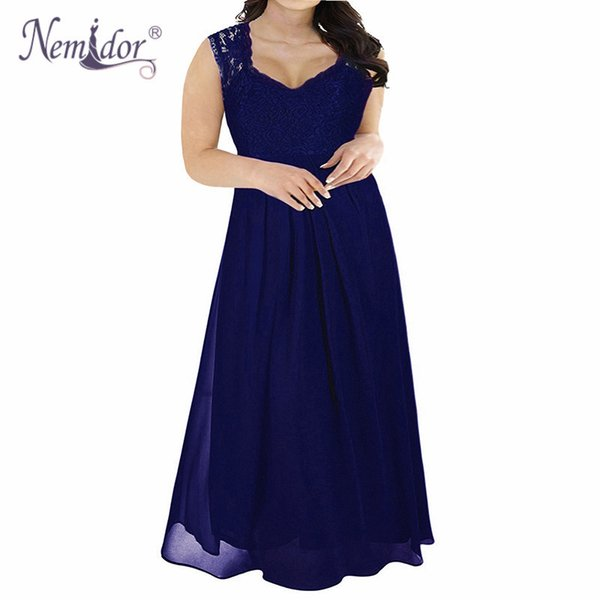 Nemidor Hot Sales Women Elegant Lace Top Deep V-neck Chiffon Party Dress Vintage 3/4 Sleeve Plus Size 8xl 9xl Long Maxi Dress Y19041001