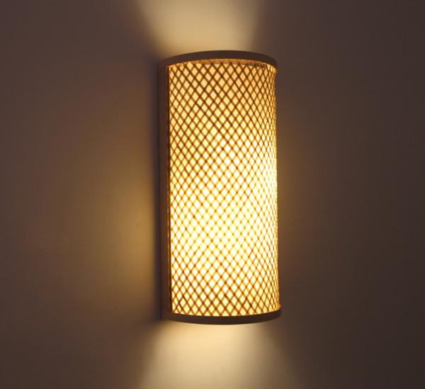 Acheter Applique Murale Japonaise Hôtel Chambre Lampe De Chevet Nouvelle Chinois Ancien Résidentiel Clubhouse Couloir Chambre Escalier Bambou Tissé