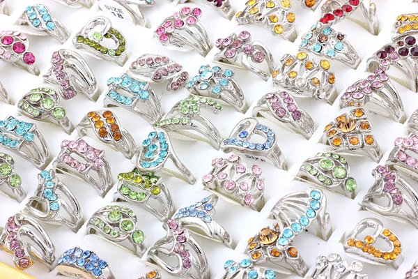 Top Quality Advanced Diverse Alloy Silver Plated Rhinestone Ring New Mixed 50Pcs Man And Woman Charm Luster Rings Free Shipping 7-9