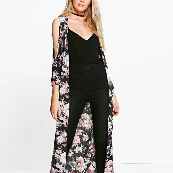 FEITONG Women Cardigan 2018 Chiffon Floral Tops Cold Shoulder Three Quart Sleeve Long Kimono Cardigan Female Shirts Tunic Coat