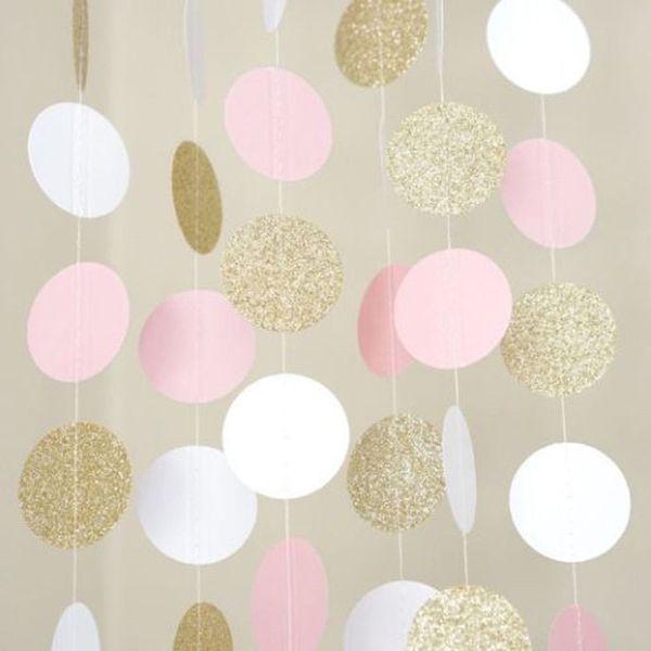 2018 New Glitter Circle Polka Dots Garland Banner 깃발 천 파티 장식 핑크 화이트와 골드 # NE1107