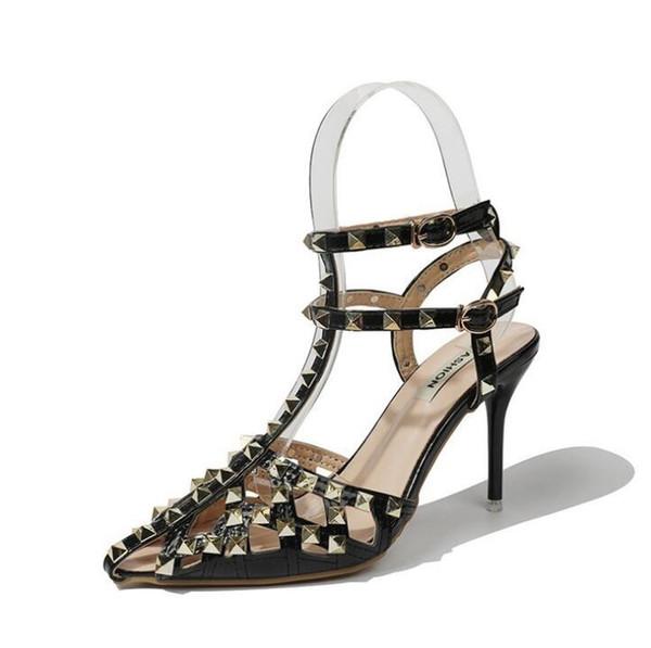 Women's sandals summer new sexy rivet super high heel stiletto belt buckle increased pointed air help