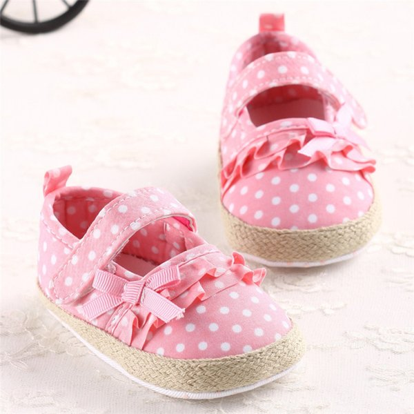 Baby Girls Shoes Fashion Newborn Infant Baby Girls Canvas Polka Dot Bowknot Shoes Soft Sole Anti-slip First Walker M8Y04