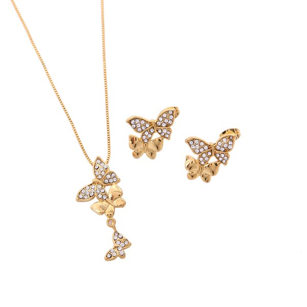 Mental Cute Butterfly Golden African Animal Pendant Necklace Sets Fashion Butterfly Crystal Jewelry Sets