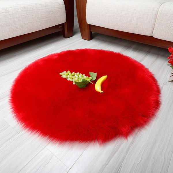 Round imitation wool carpet mat plush cushion fashion home living room bedroom bedside blanket cheap hand wash carpet DT-22