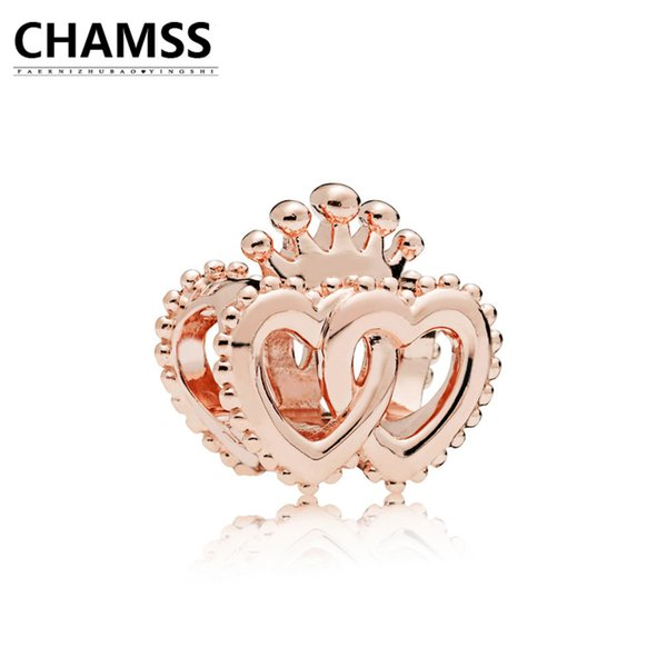 CHAMSS 2018 Newt 925 787670 ROSE INTERLOCKED CROWNED HEARTS CHARM Sterling Silve Bracelet Gifts Jewelry for Women