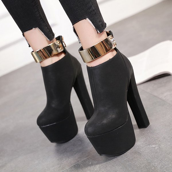 top popular 16CM Black Metal Plate Chunky High Heels Luxury Women Designer Shoes Come With Box 2021