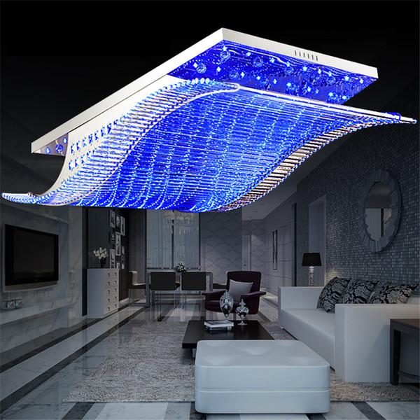 Remote Controls Light Change 4 Color Modern LED Crystal Iron Ceiling Lights Lustre Lamp for Home Living Room PLL-700