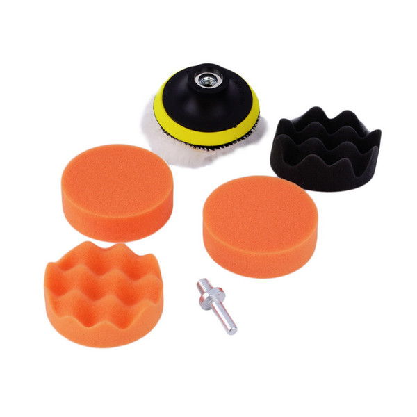 Worldwide 7pcs/set 3 inch Buffing Pad Auto Car Polishing sponge Wheel Kit With M10 Drill Adapter Bufferfree Free Shipping