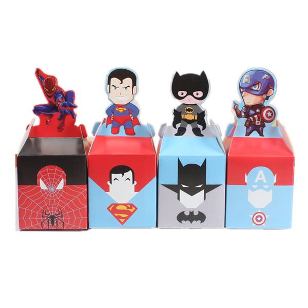 10/20 pz Cartone animato Supereroe Forniture per feste Scatola di caramelle Baby Shower Per bambini Festa di compleanno Bomboniere Confezione regalo Scatole di caramelle di Natale