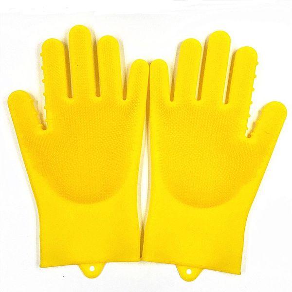 Magic Silicone Dishwashing Cleaning Gloves Brush Scrubber, Reusable Silicone Dish Wash Scrubbing Sponge Gloves for Washing Dish,Car,Pet,Dog