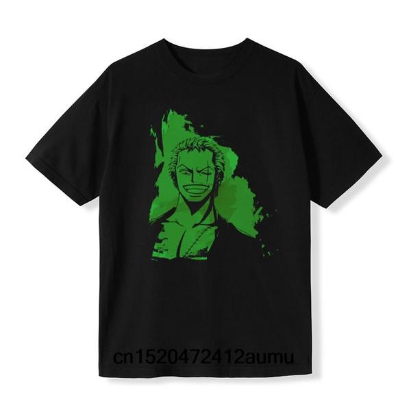 Zoro Yeşil Suluboya Tişört Anime Baskı Siyah Kısa Kollu Gömlek