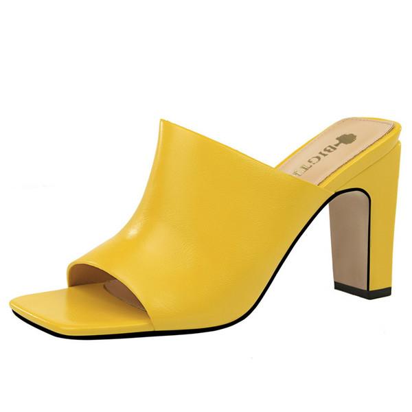 2019 Verão Sexy Saltos Altos Chinelos Mulheres Slides Womens Chinelos Peep Toe Sandálias De Salto Alto Sapatos de Mulher Deslizamento No Salto Grosso