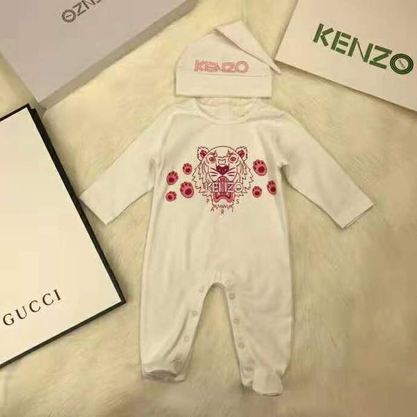 2 PZ Baby Pagliaccetti + Cappello Neonati maschi Set Tigre stampato Tuta Infantile In Cotone A Maniche Lunghe Tute Infantili Abbigliamento Per Bambini Spedizione gratuita