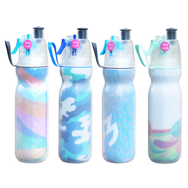 590ml Mist Spray Water Bottle Bicycle Drinking Spraying Water Bottle Summer Cooling Outdoor Camping Gym Sports Double Layer Sip Mist FFA2062