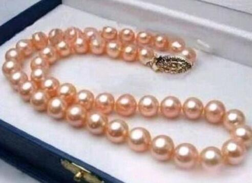 10-11MM REAL SOUTH SEA PINK NATURAL PEARL NECKLACE 18 INCH 14k YELLOW GOLD CLASP