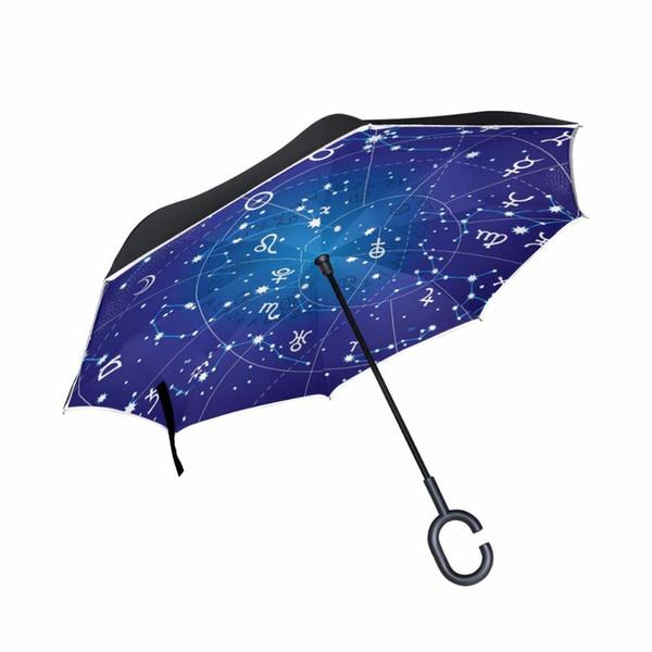 Kreative 12 Konstellationen Neuheit Reverse Auto Regenschirm Winddicht Doppelschicht Galaxy Space Stars Frauen Regen Inverted Umbrella